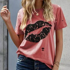 Distress top pink orange w lips small new